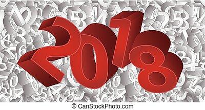 vettore, illustrazione, fondo, 2018, anno, nuovo, 3d, felice