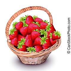 vettore, illustrazione, fragola, basket., frutte, fresco