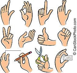 vettore, illustrazione, hands.