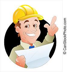 vettore, illustrazione, ingegnere