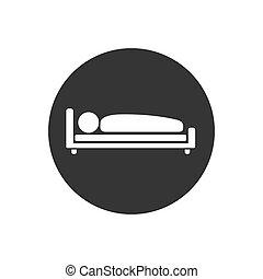 vettore, illustrazione, letto, icona, uomo, appartamento, stile, sonno