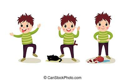 vettore, illustrazione, lingua, ragazzo, vaso, fuori, birichino, set, prendere giro, rottura, mettere