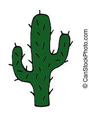 vettore, illustrazione, mano, disegnato, cartone animato, cactus, scarabocchiare