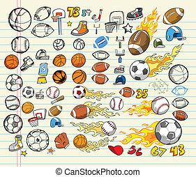 vettore, illustrazione, mega, sport