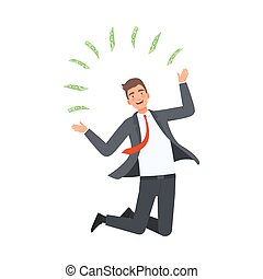 vettore, illustrazione, ottenere, uomo affari, soldi,...
