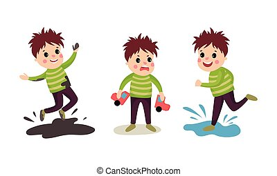 vettore, illustrazione, pozzanghera, ragazzo, giocattolo, saltare, birichino, set, rottura, automobile