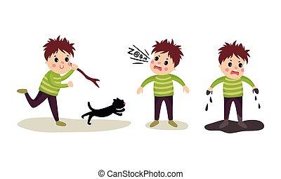 vettore, illustrazione, ragazzo, fango, gatto, standing, abusare, birichino, set, inseguire