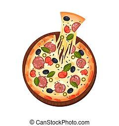 vettore, illustrazione, salame, cucina, italiano, tradizionale, pizza, ogive, cibo, pomodori, fresco, formaggio, salsiccia