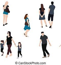 vettore, illustrazione, seniors., seamless, persone, set, bambini, pattern., adulti