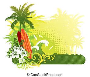 vettore, illustrazione, -, surfboard, su, paesaggio...