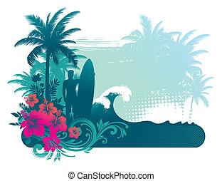 vettore, illustrazione, -, surfer, silhouette, su, atropical, paesaggio