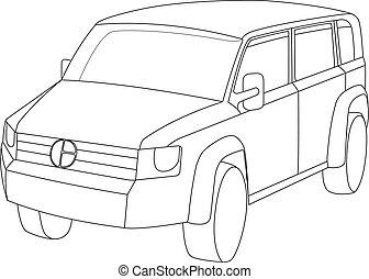 vettore, illustrazione, veicolo utilità, grigio, sport