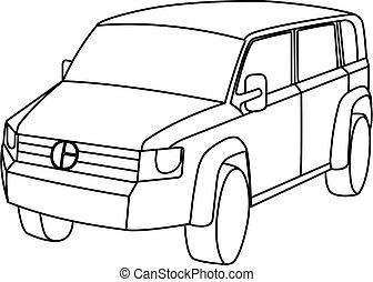 vettore, illustrazione, veicolo utilità, sport, contorno