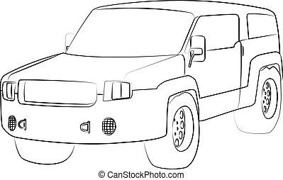 vettore, illustrazione, veicolo utilità, sport, isolato