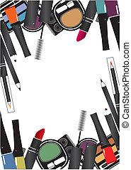 vettore, illustrazioni, di, cosmetica, isolato, truccare,...