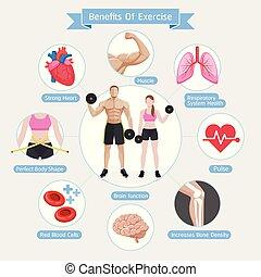 vettore, illustrazioni, diagram., benefici, exercise.