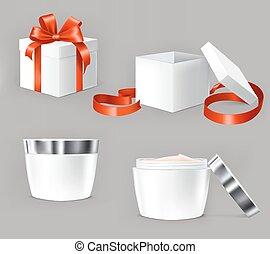 vettore, illustrazioni, set, cosmetica, containers.