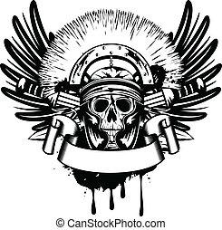 vettore, immagine, cranio, in, casco, e, attraversato, spada