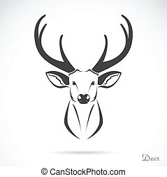 vettore, immagine, di, un, cervo, testa