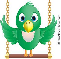 vettore, immagine, di, uno, uccello verde