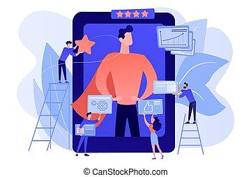 vettore, impressione, amministrazione, illustrazione, concetto