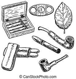 vettore, inchiostro, mano, disegnato, stile, tabacco, set