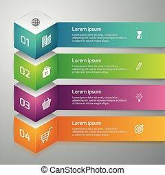 vettore, infographics, cubo, illustrazione, 3d