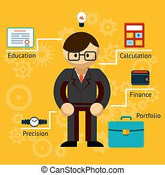 vettore, informazioni, uomo affari