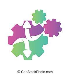 vettore, ingranaggio, colore freccia, tre, direzione, isolato