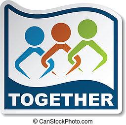 vettore, insieme, accomunato, persone, adesivo