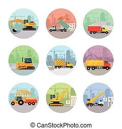 vettore, insieme costruzione, macchine, icone