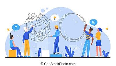 vettore, insieme, idea, squadra, brainstorming, cartone animato, illustrazione, problema, lavoro squadra, lavorativo, impiegato, soluzione, persone affari, concetto, appartamento, creativo