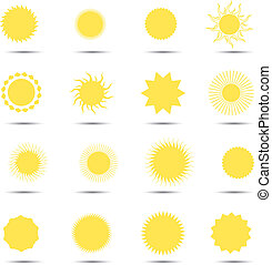 vettore, insieme sole, illustration., icone