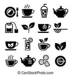vettore, insieme tè, ghiaccio, icone