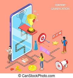 vettore, interattivo, content., gamification, appartamento, isometrico, concetto