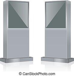 vettore, interattivo, informazioni, chiosco, terminale, stare in piedi, mostra schermo, mensola, infokiosk
