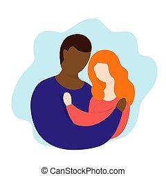 vettore, interazione, illustration., coppia, interrazziale, rings., marriage., reletionship.