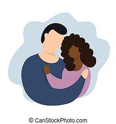 vettore, interazione, illustration., couples, interrazziale, marriage.