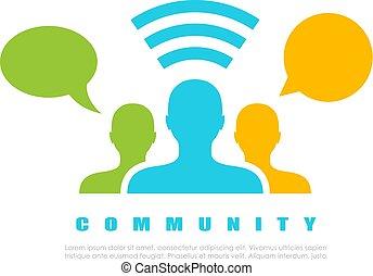 vettore, internet, comunità, icona