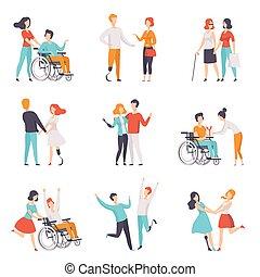 vettore, invalido, vita, buono, persona, persone, set, handicappato, loro, pieno, fondo, tempo, illustrazioni, bianco, godere, amici, detenere