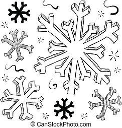 vettore, inverno, fiocchi neve
