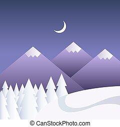 vettore, inverno, fondo, con, montagne, notte