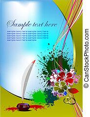 vettore, invito, card., illustrazione, matrimonio