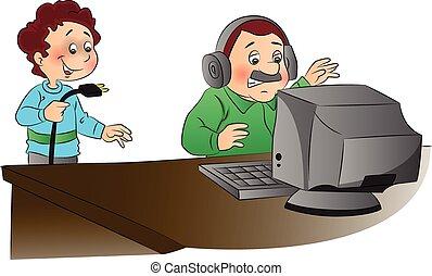 vettore, irosamente, illustrazione, dall'aspetto, computer, unplugged, uomo