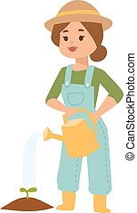 vettore, irrigazione, donna, illustration., lattina