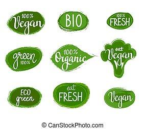 vettore, iscrizione, eco, verde, natura, organico, vegan, tesserati magnetici, set