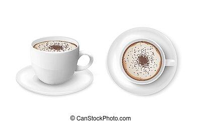 vettore, isolated., tazza caffè, vista, 3d, illustrazioni, set, realistico, lato, cima
