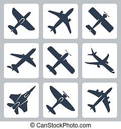 vettore, isolato, aereo, icone, set