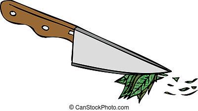 vettore, isolato, coltello, cucina
