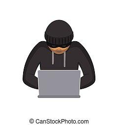 vettore, isolato, hacker, laptop, appartamento